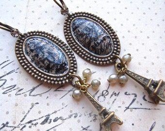 Oval Brass, Antiqued Brass, Decoupage, Homage a Paris, Eiffeltower Charm, Dangle Earrings
