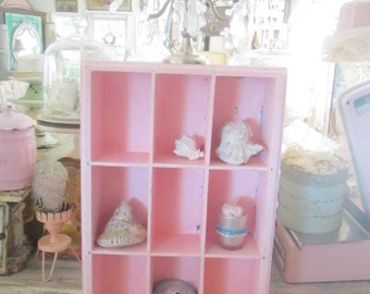 Vintage shelf cubbys Chippy  shabby chic pale pink shelf shabby chic cottage chic