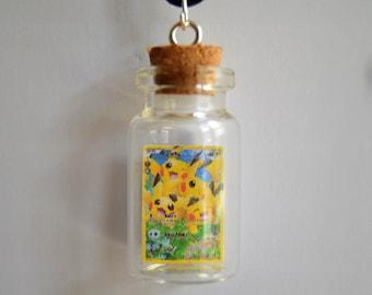 READY TO SHIP, Bottled Pikachu Pokemon Card Necklace/Phone Charm/Keychain