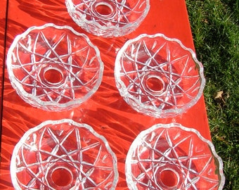Set of FIVE 50s 60s Clear GLASS Chandelier Shades Basket Weave Design for Replacement or Mixed Media Project