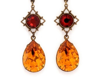Red Orange Rhinestone Earrings, Nickel Free Brass Jewelry, Topaz Orange Earrings, Rhinestone Jewelry, Crystal Dangle Earrings, Clairene