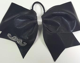 Black Shimmer Mustache Cheer Bow
