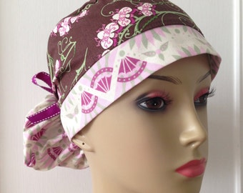 Women's Ponytail Surgical Scrub Cap - Brown and Pink Flowers