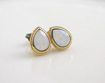 Teardrop Stud Earrings. Swarovski White Opal. Easter Egg. Bridesmaid Gift. Simple Modern Jewelry