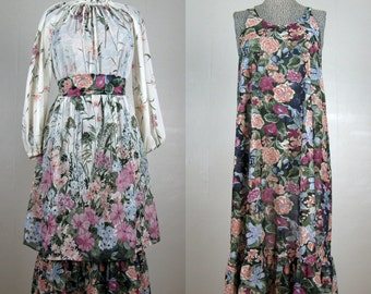Vintage 1970s Floral Boho Dress 70s Bohemian 2 Piece Dress with Sash by Rainbow of California Size M Open Fit