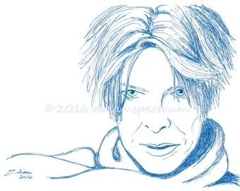 """Bowie in Blue 8"""" x 10"""" glossy original art print, David Bowie fan art"""