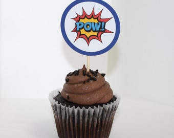 CUSTOM ORDER Superheroes Comics Bang Pow Set of 30 Cupcake Toppers, Birthday Party, Superheroes Comic Birthday Party