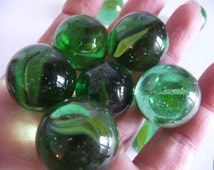 Glass Marbles, Round marbles, Rare marbles, ball marbles, vintage marbles, big marbles, green, transparent, emerald, feather marbles, glass,