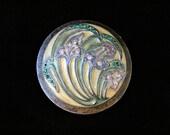 Vintage Hunt-Hallmark Art Nouveau Trinket Box Porcelain Metal Vanity Jewelry Storage Ring Dish Hand Decorated Rhinestone Brass Lid