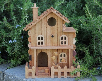 Birdhouse with Front Yard, wine cork art