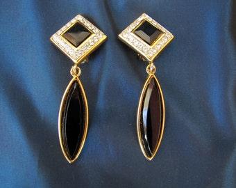 Vintage Rhinestone & Faux-Onyx Dangle Glam Clip-on Earrings