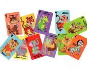 Vintage Animal Rummy Playing Cards Lot, 11 Pieces, Hippo, Elephant, Camel, Monkey, Lion, Zebra, Kangaroo, Alligator, Fox, Tiger and Bear