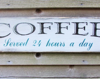 coffee sign, primitive sign, rustic sign, primitive kitchen decor, kitchen decor, hand painted wood sign, rustic home decor, kitchen decor