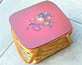 Basketville Two Pie Carrier Picnic Basket Hand Painted by Artist Renate Diroll