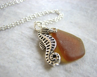 Sterling Silver Sea Glass Necklace, Seahorse and Amber Brown Real Beach Glass Jewelry, Seaglass Pendant, Womens Nautical GIft Ideas