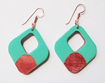 Wooden earrings, lightweight, double-sided!