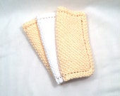 Yellow dish or facial cloth or pot holders hand knit cotton