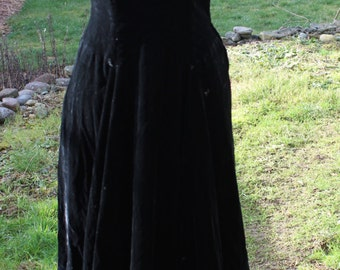 Genuine 1960's Black Velvet Maxi Dress with Lace and Pearls