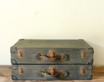 Primitive Antique Suitcases Shabby Black Pressed Board Suitcase Fabric Lined Leather Trim Stackable