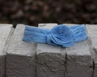 Baby/Toddler Fabric Flowered Stretchy Headband--Blue Specks