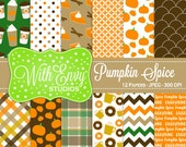 50% OFF Pumpkin Spice Digital Paper - Fall Scrapbook Paper - Pumpkin Digital Paper - Pumpkin Spice Paper - Personal & Commercial Use