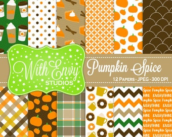 SALE  Pumpkin Spice Digital Paper - Fall Scrapbook Paper - Pumpkin Digital Paper - Pumpkin Spice Paper - Personal & Commercial Use