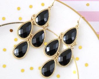 Black Color Stone Light Gold Frame Chandelier Earrings , Bridal Earrings, Bridesmaid Earrings, Black Chandelier Earrings