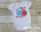 Girl's or Boys Love Bug Applique Bodysuit Outfit or Shirt Children's, Spring or Summer Outfit, Appliqued Shirt