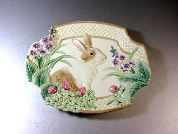 Fitz and floyd botanical bunny canape plate candy by for Fitz and floyd canape plate