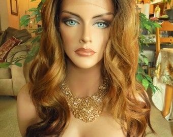 SPRING SALE - Lace Front Natural Wavy Wig - Auburn with Dark Roots - Lace Front & Capless Wig - Rockabilly - Natural Beauty