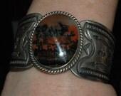 Stunning Heavy Vintage Navajo Fred Harvey Era Petrified Wood Agate Stamped Bracelet - Coin Silver Ingot 77 Grams
