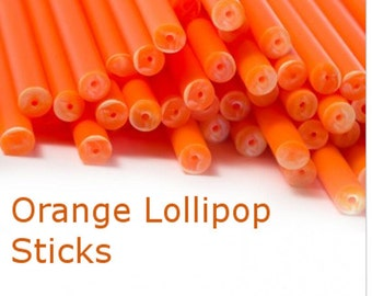 Orange  Lollipop Sticks,30 Orange  Cake Pop Sticks, Plastic Lollipop Sticks, Orange  Sticks