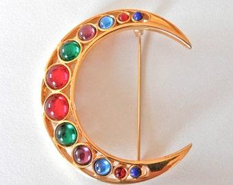 Beautiful Vintage Brooch, Crescent Moon, Gold Metal Jewellery, Gem Stones