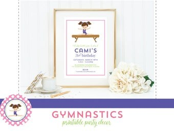 PRINTABLE PARTY COLLECTION - Sweet Gymnastics Party - Mirabelle Creations