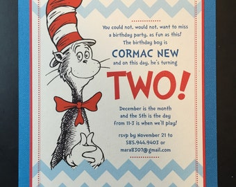 Cat in the hat birthday invitation