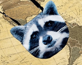 Raccoon cross body, raccoon shoulder bag, raccoon bag, raccoon clutch, novelty , pouch, purse, raccoon lovers , raccoon portrait ,  SB-244