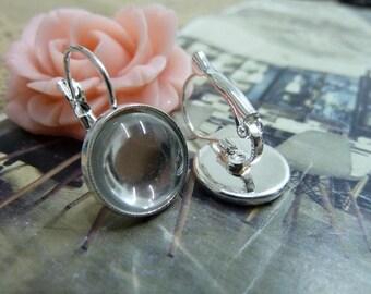 10pcs 12mm silver cabochon earrings settings C4890