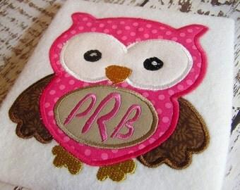 Monogram Applique Owl embroidery design, applique owl, monogram owl embroidery instant download, embroidery machine owl design