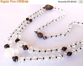 "Czech Crystal Necklace Bicone & Gold Wire Wrap Beads Filigree Clasp Art Deco 17"" Vintage"