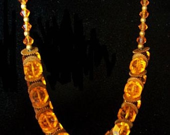 Czech Art Deco Necklace Orange Glass Beads Brass Metal Geometric Designs 16 in Vintage