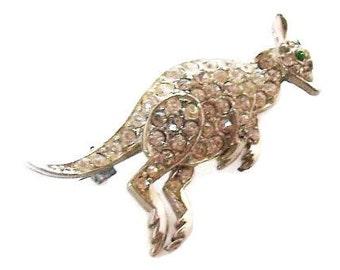 """Vintage Rhinestone Kangaroo Brooch or Pin Silver Metal Figural 2"""" VG"""