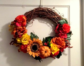 Fall Wreath, Autumn Wreath, Sunflower Wreath, Autumn Decoration, Fall Decoration, Thanksgiving Wreath