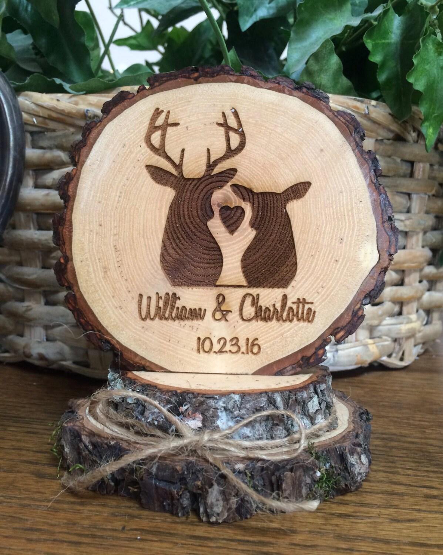 Rustic Wedding Cake Topper Engraved Wedding Topper Deer