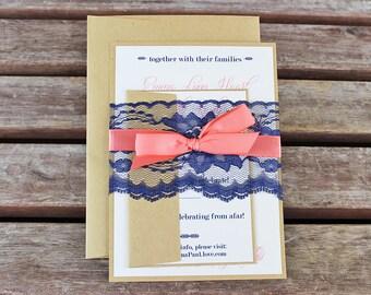 Navy and Coral Wedding Invitations. Handmade Cards. Rustic Wedding. Shabby Chic Wedding. Vintage Wedding.