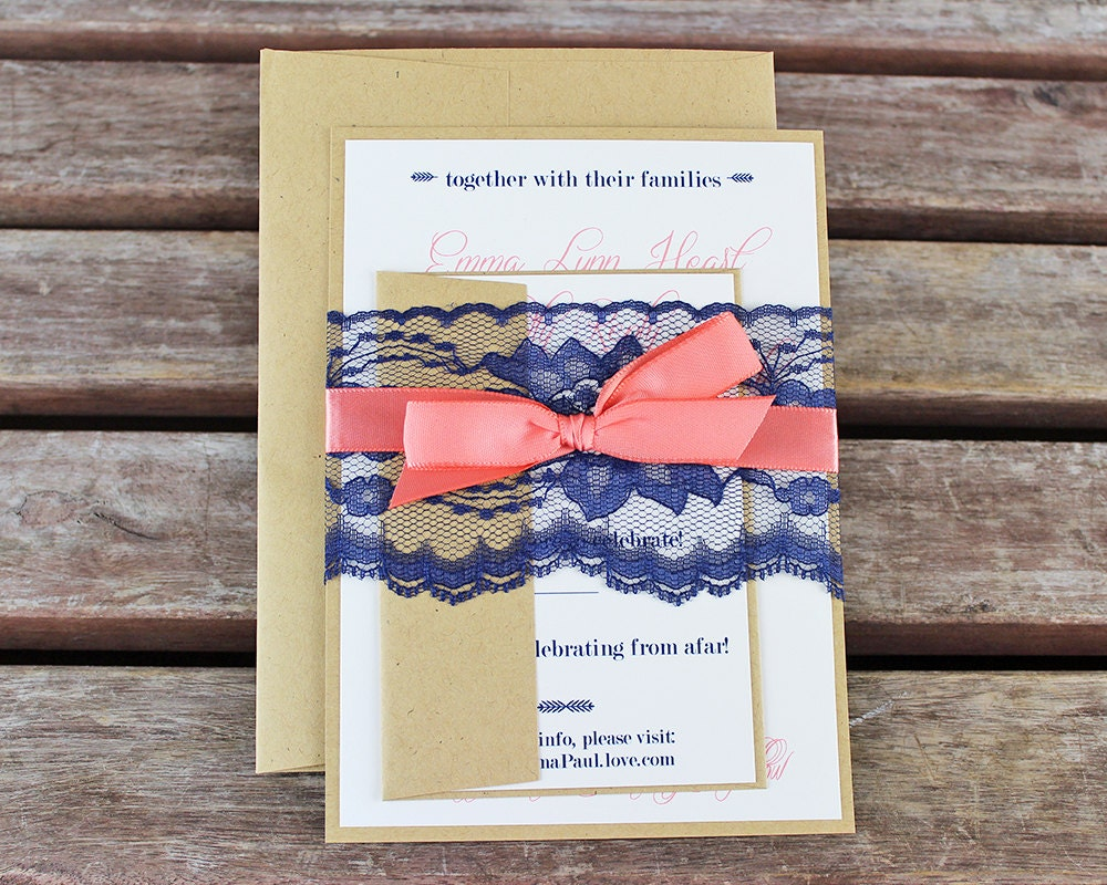 Blue And Coral Wedding Invitations: Navy And Coral Wedding Invitations. Handmade Cards. Rustic