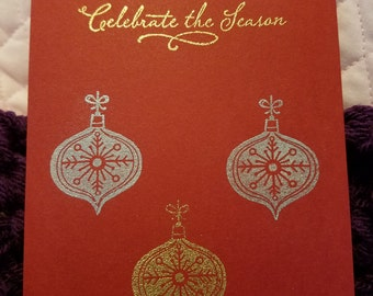 Christmas Ornament Card on Green or Red