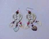 Reserved:  Pretty Vintage Dangling Boho Earrings with Hearts, Beads and Mother-of-Pearl
