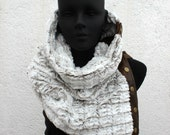 Unisex scarf. Snap cowl, Extra Wide, faux fur. Mens winter, Husband gift, Trendy, modern and cozy.
