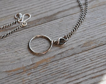 Sterling silver long pendant necklace, hand forged, oxidized, unique