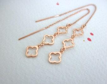 clover threader earrings -  ear thread earrings - cut out clover earrings - rose gold clover earrings - multi clover -